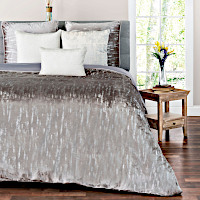 Grey or white velvet king duvet and euro sham with metallic silver printing.