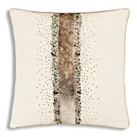 Wheat ground pillow with accent of cow hide and jewels adornment.