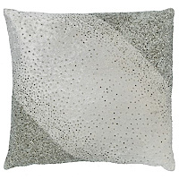 Ivory velvet pillow with scattered crystals.