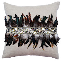 Silver wheat pillow with feathers and jewels.