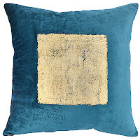 Velvet pillow with gold foil print in a choice of black or teal base colors.