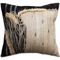Black silk pillow with tan applique