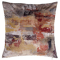 Red and gold printed velvet pillow.