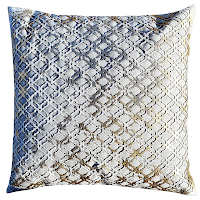 Featuring Wheat linen pillow with gold lattice cowhide hairon hide.