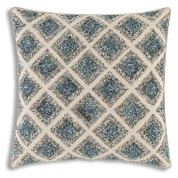 Wheat linen pillow with multi color hand beaded embroidery.