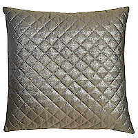 Metallic gold chevron pillow with diamond quilting.