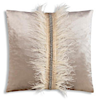 Featuring different textured gold and silver metallic printed decorative pillows.