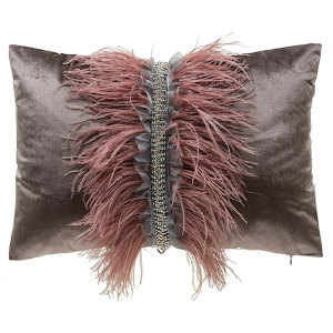 Cloud9 Design Ava Velvet with Ostrich Feathers Decorative Pillows