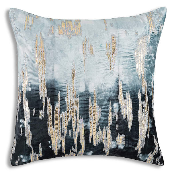 Cloud9 Design BOHEME06J-NY  (22x22) Boehme Shibori Tie Dye with Gold Foil/Highlight Embroidery Decorative Pillow