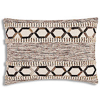 Handloom pillow with hair-on hide applique