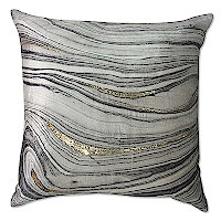 Velvet Pillow with print and Gold brushstroke.