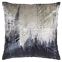 Decorative pillows in charcoal grey and ivory tie dye with metallic embroidery.
