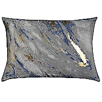 Charcoal tie dye decorative pillow with gold print.