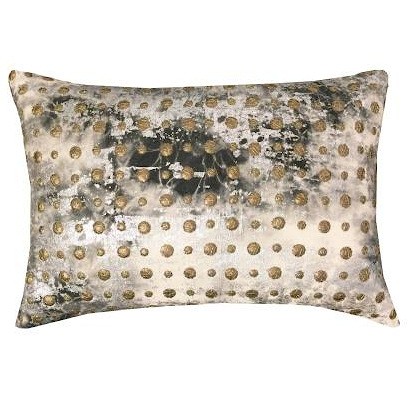 Cloud9 Design CHAR04C-IVSV Char 14x20 Ivory and Charcoal Tie Dye with Studs Decorative Pillow
