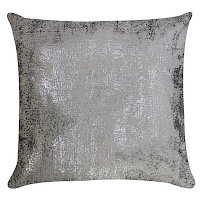 Ivory velvet pillow with silver print.