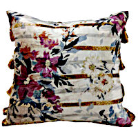 Decorative pillows with antique appearance with flattering flower decor.