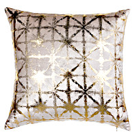 Ivory velvet pillow with gold or silver print.