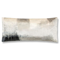 A modern grey/charcoal decorative pillow printed on velvet with embroidery.