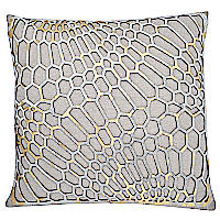 Wheat Lurex linen pillow with gold laser cut Hair-on hide.