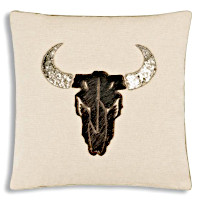 Deer head decorated pillow throw.