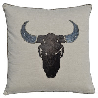 Deer head decorated pillow throw.