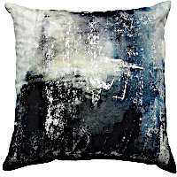 Indigo and white tie dye pillow with silver metallic print.