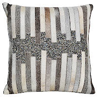 Featuring Grey hair on hide pillow with patch work and sequins.