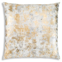 Wool pillow with gold and silver print and velvet back.