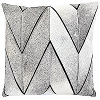 Black pillow with chevron patterned Hair-on hide