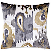 Ivory Velvet with grey and silver and gold ikat embroidered decorative pillows.