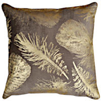 Gold or silver feather embellished decorative pillows with beads