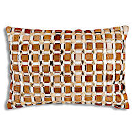 Geometric hide decorative pillows  with metallic embellishment.