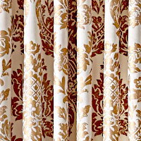 Stone or Ivory velvet drapery panel with gold foil damask pattern.