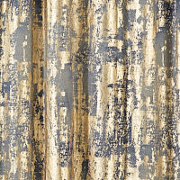 Ivory and grey tie dye draery panel with gold foiling or charcoal linen slub drapery panel with tie dye and gold foiling.