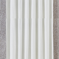 Cyprus drapery by Cloud9 Design is a choice of ivory velvet and beaded border or silver hand-embroidered Greek key pattern and grey velvet.
