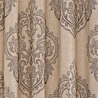 Natural drapery linen panel with light brown polyester.