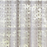 Ivory or grey sheer organza drapery panel with silver scatter print.