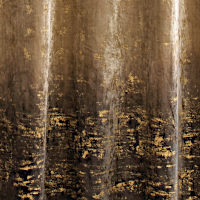 This drapery will make a big decorative splash with a spectacular bottom section composed of gold foiling or sequins.