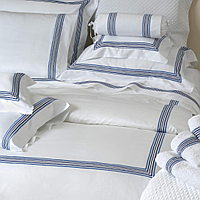 Chelsea custom bedding with embroidered 5 lines of satin stitches.
