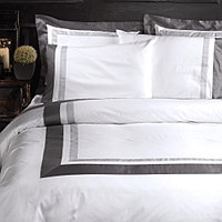 Mistral bedding is custom color fabric choice of main, inner and outer wide border.