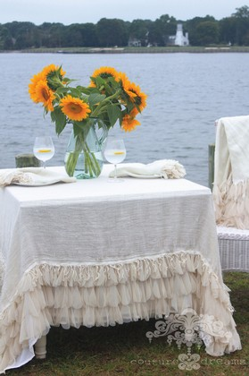 Couture Dreams Chichi Ivory Square Linen Tablecloth