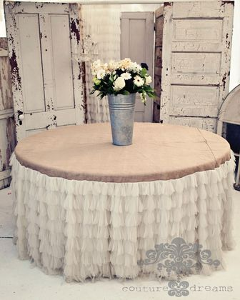 The Couture Dreams Chichi Ivory Petal and Jute Tablecloth