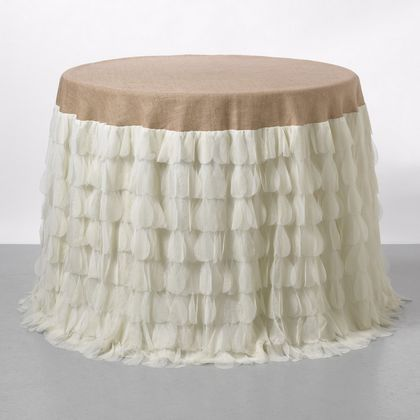 Couture Dreams Chichi Petal and Jute Tablecloth - Ivory