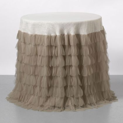 Couture Dreams Chichi Petal and Jute Tablecloth - Sable