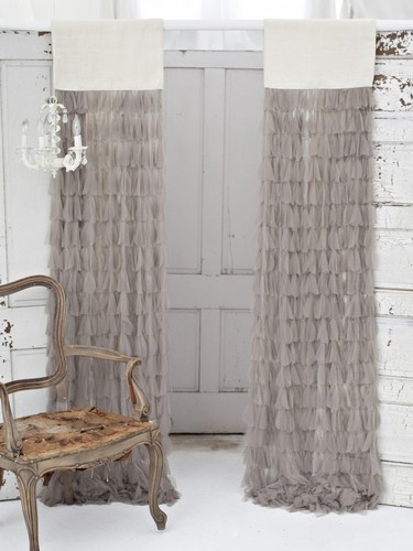 Couture Dreams Chichi Petal with Jute Header Window Curtain