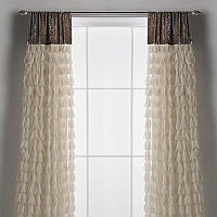 Couture Dreams Chichi Ivory Petal & Soft Earth Silk Velvet Window Curtain