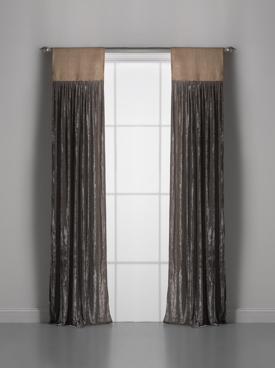 Well-liked Couture Dreams Luscious Silk Velvet with Jute Header Window Curtain NX95