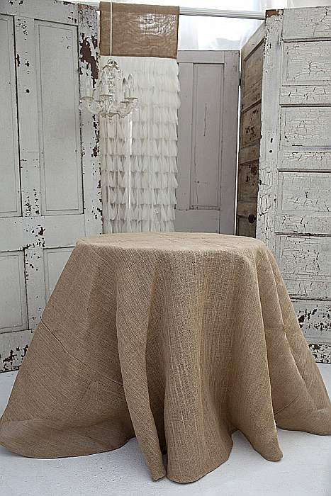 Captivating Couture Dreams Solid Jute Tablecloth   Color: Natural Swatch Available.