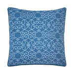 Dena Atelier Decorative Pillow Navy Solid Embroidered