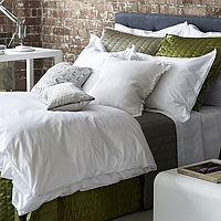Irresistible fresh white on white bedding with a stylish double oxford embroidered edge for a tailored touch.